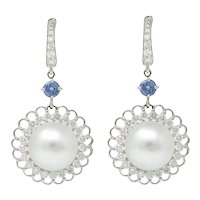 Contemporary South Sea Pearl 2.20 CTW Sapphire Diamond 18 Karat White Gold Earring