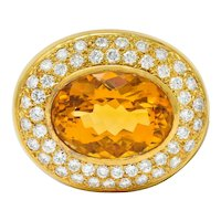 1960's Vintage Citrine Pave Diamond 18 Karat Gold Oval Brooch