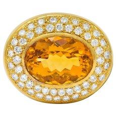 1960's Vintage Citrine Pave Diamond 18 Karat Gold Oval Brooch