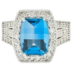 London Blue Topaz Diamond Halo 18 Karat White Gold Statement Ring