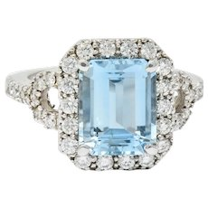 2.62 CTW Aquamarine Diamond Halo 18 Karat White Gold Cocktail Ring