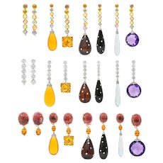 Paolo Costagli Multi-Gem Opal Sapphire Diamond 18 Karat Gold Convertible Drop Earrings