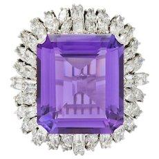Large Vintage Amethyst 6.00 CTW Diamond 18 Karat White Gold Cluster Ring