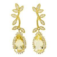 Heliodor Golden Beryl Diamond 18 Karat Gold Foliate Drop Earrings