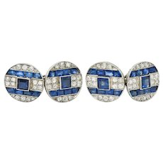 French Art Deco 7.32 CTW Sapphire Diamond Platinum Men's Cufflinks