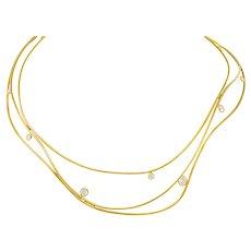 Elsa Peretti Tiffany & Co. 1.08 CTW Diamond 18 Karat Gold Wave Collar Necklace