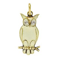 Art Deco Diamond Enamel 14 Karat Gold French Owl Charm