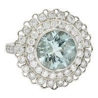 Green Beryl Diamond Platinum Floral Cluster Statement Ring