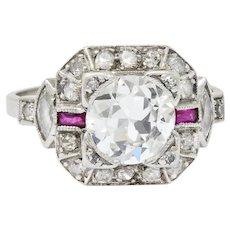 Art Deco 1.46 CTW Diamond Ruby Platinum Engagement Ring
