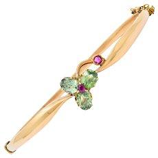 Retro Russian Demantoid Garnet Ruby 14 Karat Gold Bangle Bracelet