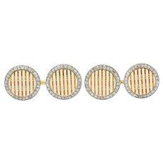 Cartier Paris Diamond Enamel Platinum-Topped 18 Karat Gold Men's Cufflinks