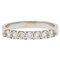 Vintage 0.45 CTW Diamond 14 Karat White Gold Anniversary Ring