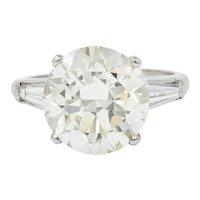 Considerable 1950's Mid-Century 8.23 CTW Diamond Platinum Three Stone Ring GIA