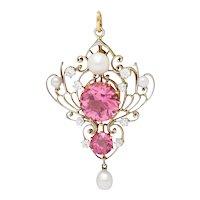 Edwardian Diamond Pearl Pink Zircon Platinum 18 Karat Gold Pendant