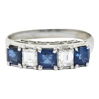 Contemporary 1.31 CTW Sapphire Diamond Platinum Five Stone Band Ring