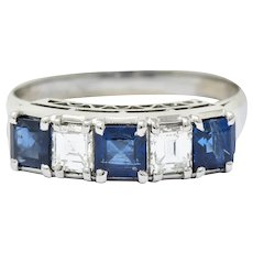 Contemporary 1.31 CTW Sapphire Diamond Platinum Five Stone Band Ring