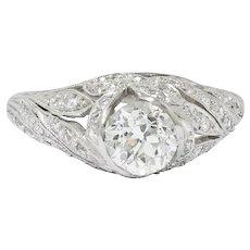 Edwardian 1.55 CTW Diamond Platinum Bow Engagement Ring GIA
