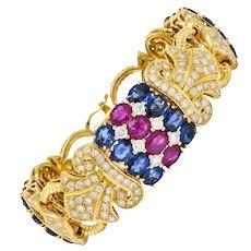 Chatila 32.85 CTW Ruby Sapphire Diamond 18 Karat Gold Fluer-De-Lis Bracelet