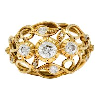 Arts and Crafts Diamond 18 Karat Gold Foliate Filigree Band Ring