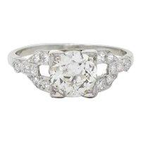 1950's Mid-Century 1.25 CTW Diamond Platinum Buckle Engagement Ring GIA