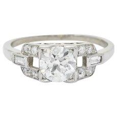 1950's Mid-Century 1.07 CTW Diamond Platinum Buckle Engagement Ring