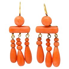 1870's Victorian Coral 14 Karat Gold Chandelier Drop Earrings