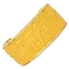 Carrera Y Carrera 18 Karat Gold Elephant Cuff Bracelet