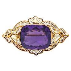Victorian Amethyst 18 Karat Gold Brooch Circa 1900