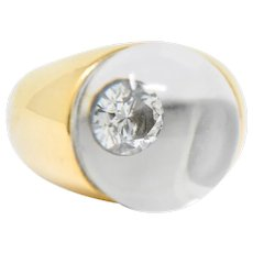 French Mauboussin Paris Diamond Rock Crystal 18 Karat Gold Orb Ring