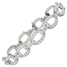 Art Deco 4.25 CTW Diamond Platinum Oval Link Bracelet