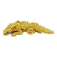 1988 Kieselstein Cord Vintage 18 Karat Green Gold Alligator Brooch