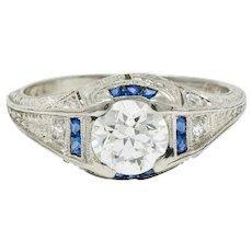 Art Deco 0.84 CTW Diamond Sapphire Platinum Floral Engagement Ring