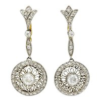 Art Deco Diamond Platinum 18 Karat Gold Drop Earrings