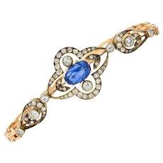 1920's Russian 4.00 CTW No Heat Ceylon Sapphire Diamond 14 Karat Two-Tone Gold Bracelet GIA