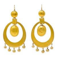 Large Victorian Etruscan Revival 18 Karat Gold Drop Statement Earrings