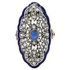 Victorian Diamond Sapphire Enamel Silver-Topped 14 Karat Gold Dinner Ring