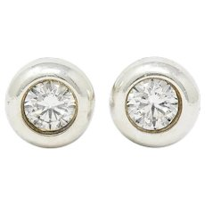 Elsa Peretti Tiffany & Co. Diamond Sterling Silver Bezel Stud Earrings