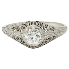 W.W. Fulmer & Co. 0.35 CTW Diamond Platinum Filigree Engagement Ring