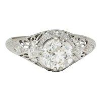 Edwardian 1.04 CTW Diamond Platinum Engagement Ring GIA