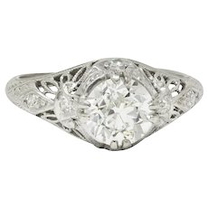 Edwardian 1.04 CTW Diamond Platinum Engagement Ring GIA