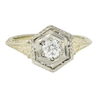 Early Art Deco 0.35 CTW Diamond Platinum-Topped 18 Karat Gold Hexagonal Engagement Ring