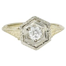 Early Art Deco 0.35 CTW Diamond Platinum-Topped 18 Karat Gold Hexagonal Engagement Ring