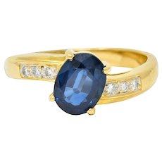 Vintage 1.61 CTW Sapphire Diamond 18 Karat Gold Bypass Ring