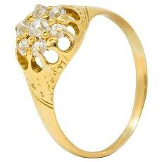 Victorian 0.32 CTW Old Mine Diamond 18 Karat Gold Cluster Ring