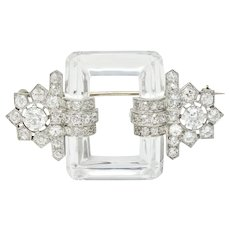 Retro Rock Crystal 5.08 CTW Diamond Platinum Floral Brooch