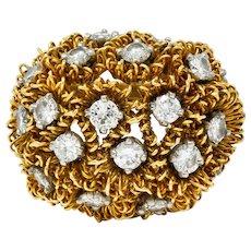 1960's Cartier France 2.50 CTW Diamond 18 Karat Gold Floral Bouquet Ring