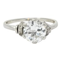 Retro 2.20 CTW Diamond Platinum Engagement Ring GIA