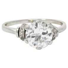 Retro 2.20 CTW Diamond Platinum Engagement Ring GIA