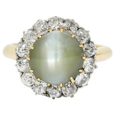 Edwardian Cat's Eye Chrysoberyl Diamond Platinum Cluster Ring