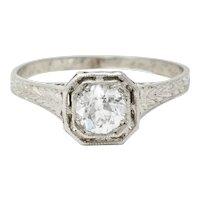 Art Deco 0.38 CTW Diamond Platinum Foliate Engagement Ring
